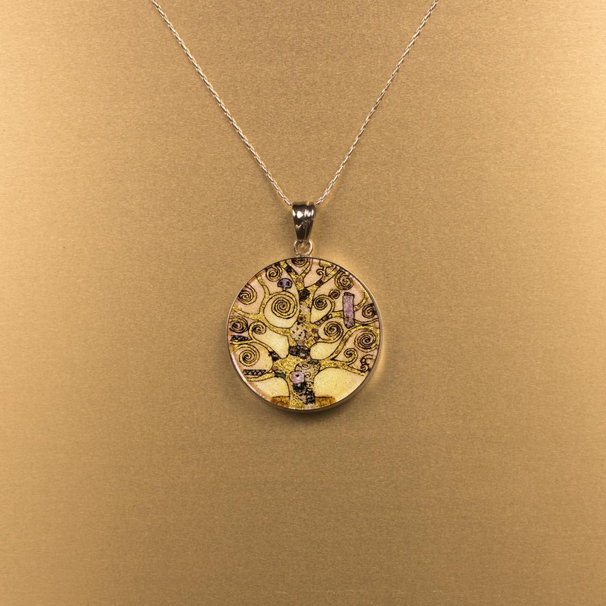 3040m Medallion locket Life of tree Klimt