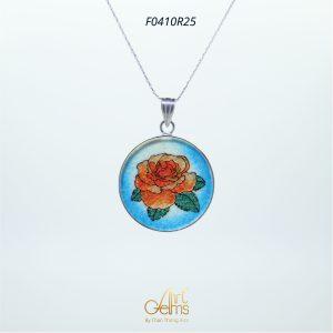 GemsArt Pendant : Orange Rose, Flower of Love Collection 30 mm.