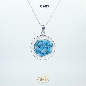 GemsArt Pendant : Jasmine (Blue), Flower of Love Collection 25 mm.