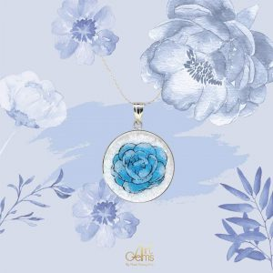 GemsArt Pendant : Jasmine (Blue), Flower of Love Collection 30 mm.