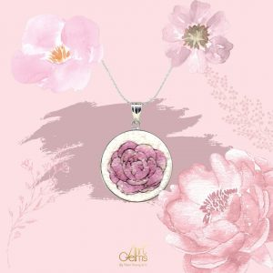 GemsArt Pendant : Jasmine (Pink), Flower of Love Collection 30 mm.