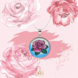 GemsArt Pendant : Pink Rose, Flower of Love Collection 30 mm.