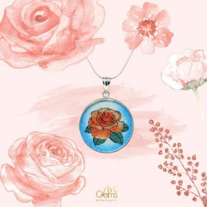 GemsArt Pendant : Orange Rose, Flower of Love Collection 30 mm.