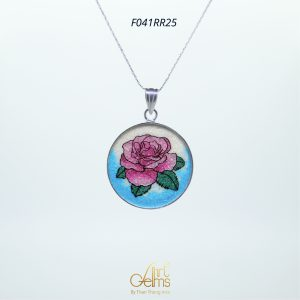 GemsArt Pendant : Pink Rose, Flower of Love Collection 25 mm.