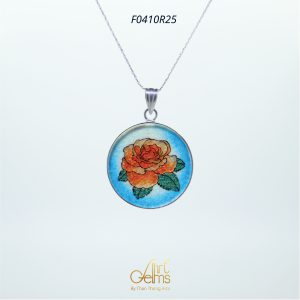 GemsArt Pendant : Orange Rose, Flower of Love Collection 25 mm.