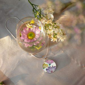 GemsArt Pendant : Fancy Daisy, Flower of Love Collection 25 mm.