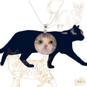 GemsArt Pendant : CA011R25, Cats Collection 30 mm.