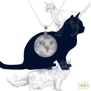 GemsArt Pendant : CA012R25, Cats Collection 30 mm.