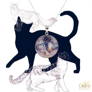 GemsArt Pendant : CA013R25, Cats Collection 30 mm.