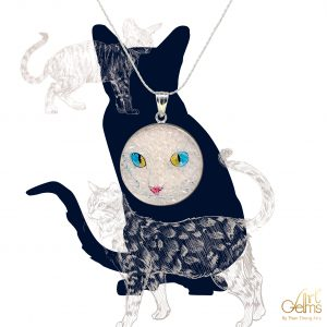 GemsArt Pendant : CA014R25, Cats Collection 30 mm.