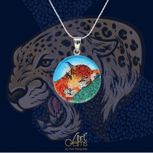 GemsArt Pendant : Leopard, Wild Life Collection 25 mm.