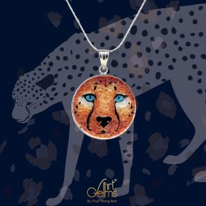 GemsArt Pendant : Cheetah, Wild Life Collection 25 mm.